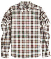 Sjyp Printed Cotton-Blend Shirt with Statement Sleeves