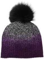 Sofia Cashmere Women's 100% Dip Dye Marl Hat with Dyed Fox Fur Pom