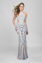 Terani Couture Unique Patterned and Beaded Halter Neck Sheath Gown 1722GL4485