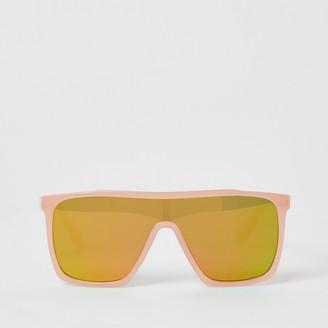 River Island Girls Pink mirrored visor sunglasses