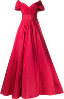 Christian Siriano strapless Bardot pin-tuck gown