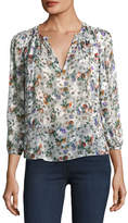 Rebecca Taylor Long-Sleeve Floral-Print Silk Top