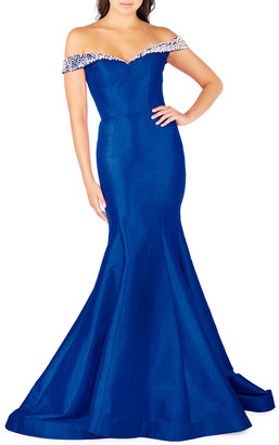 Mac Duggal Off-the-Shoulder Embellished Sleeve Taffeta Mermaid Gown