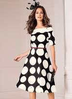 Kaleidoscope Polka Dot Print Scuba Prom Dress