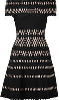 Herve Leger Off-the-shoulder Stretch Jacquard-knit Mini Dress - Black