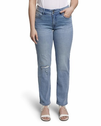 Seven7 Women's High Rise Double Button Tummyless Straight Jean