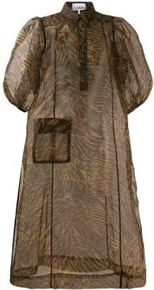Ganni sheer shirt dress