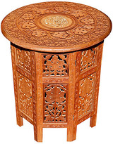 One Kings Lane Vintage Carved Teak Indian Accent Table - brown/gold