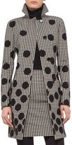 Akris Punto Dotted Houndstooth A-Line Coat, Black/Cream