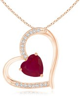 Angara.com Solitaire Ruby Tilted Heart Pendant with Pave Diamonds in Silver (6mm Ruby)