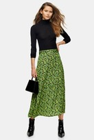 Topshop Green Paisley Tiered Midi Skirt