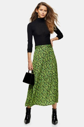 Topshop Womens Green Paisley Tiered Midi Skirt - Green