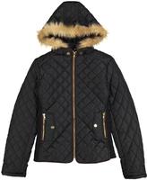 Black Faux Fur-Trim Quilted Jacket - Girls