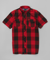 Burnside Red Plaid MRI Button-Up - Boys