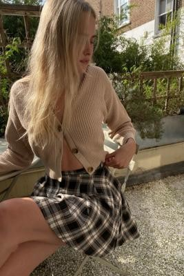 Daisy Street Check Pleated Mini Skirt - Black L at Urban Outfitters