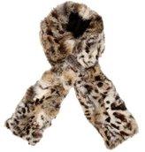 Adrienne Landau Leopard Print Fur Scarf