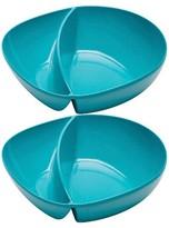 Zak Designs Zak! Moso 7.5in Divided Serving Bowl Azure - Set of 2