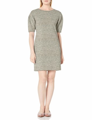 Daily Ritual Women's Standard Terry Cotton and Modal Pleated-Sleeve Sweatshirt Dress