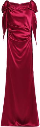 Talbot Runhof Bow-embellished Draped Satin Gown