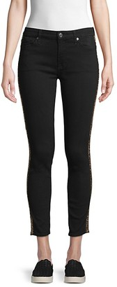 7 For All Mankind Gwenevere Mid-Rise Leopard-Print Side-Stripe Skinny Ankle Jeans