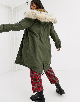 Asos Design DESIGN luxe parka with faux fur trim in khaki-Green