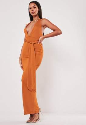 Missguided Rust Halter Neck Bodycon Maxi Dress