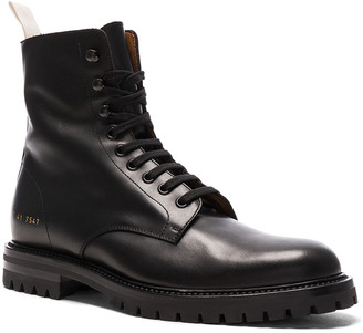Common Projects Leather Winter Combat Boots in Black | FWRD