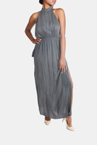 Sage Charcoal High-Neck Maxi-Dress