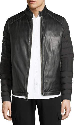 Michael Kors Napa Leather & Nylon Biker Jacket
