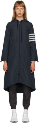 Thom Browne Navy Flyweight Tech 4-Bar Hooded Parka