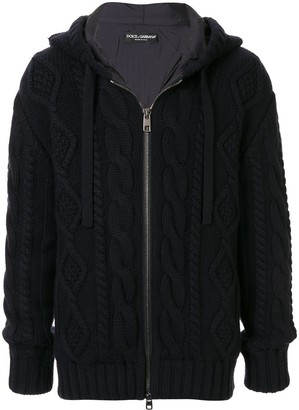 Dolce & Gabbana Cable-Knit Zipped Hoodie