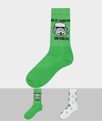 ASOS DESIGN sport socks with Stormtrooper design 2 pack