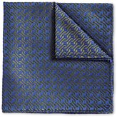 Charles Tyrwhitt Blue and Olive Retro Geometrics Luxury Silk Pocket Square