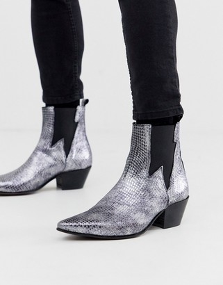 Asos DESIGN stacked heel western chelsea boots in silver snake