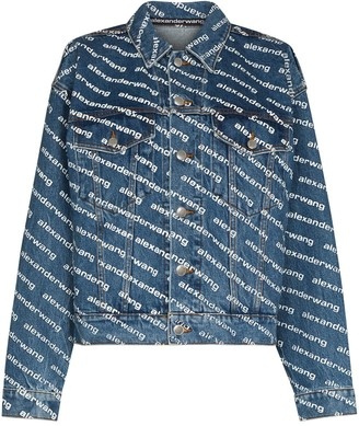 Alexander Wang Diagonal-Logo Denim Jacket
