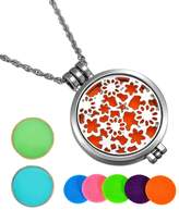 HooAMI Aromatherapy Essential Oil Diffuser Necklace Flower Patch Locket Pendant,5 Colorful Pads+2 Noctilucent Pads