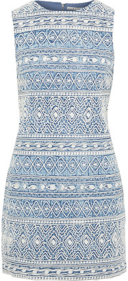 Alice + Olivia Coley Embroidered Bleached Cotton-chambray Mini Dress