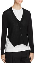 DKNY Side Slit V-Neck Cardigan