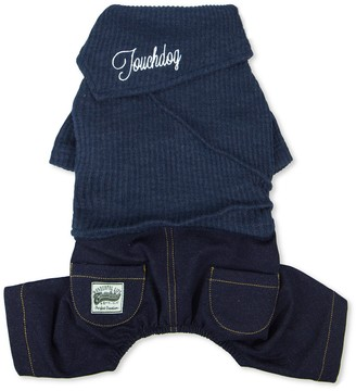 Touchdog Vogue Neck-Wrap Sweater & Denim Outfit - Navy - Extra Large