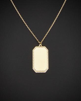 Italian Gold 14K Rectangular Border Plaque Pendant Adjustable Length Necklace