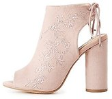 Charlotte Russe Embroidered Lace-Up Slingback Booties