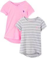 U.S. Polo Assn. Gray & Pink Stripe Hi-Low Tee - Set of Two - Toddler & Girls