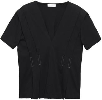 Sandro Pleated Cotton-jersey Peplum Blouse