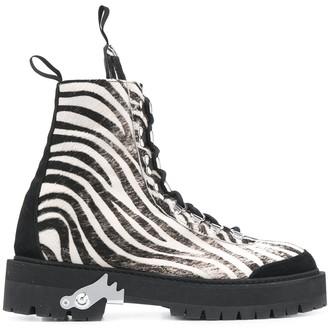 Off-White zebra print ankle boots