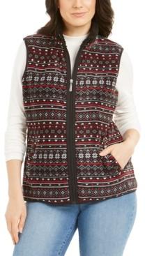Karen Scott Sport Fairisle-Print Sherpa-Trim Vest, Created for Macy's