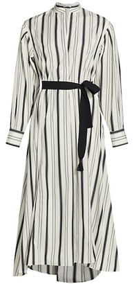 Brunello Cucinelli Regimental Striped Belted Poplin Shirtdress