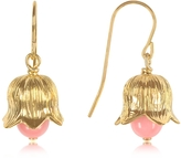 Aurelie Bidermann 18K gold-plated Lily of the Valley Earrings w/Pink Bamboo Pearl