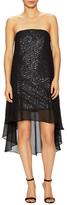 Halston Sheer Georgette Overlay Sequined Dress