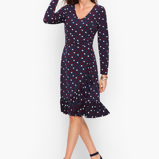 Talbots Heart Print A-Line Jersey Sheath Dress