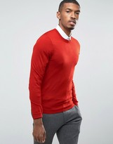 Asos Muscle Fit Merino V-Neck Sweater In Rust
